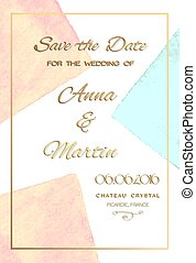 Invitation card for wedding with watercolor background