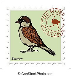 stamp with sparrow
