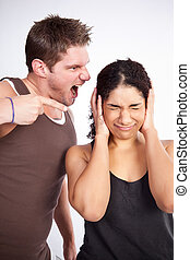 Exercise woman with trainer - A personal trainer screaming...