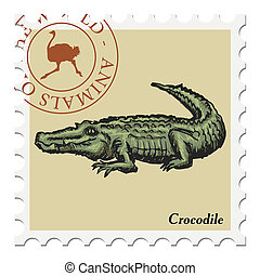 stamp with crocodile - vector, post stamp with crocodile
