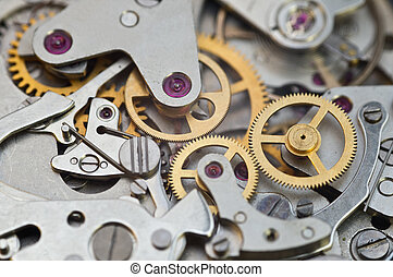 Metal Cogwheels in Clockwork, Concept Teamwork , Idea...