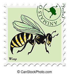 stamp with wasp - vector, post stamp with wasp