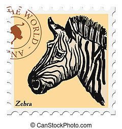 stamp with zebra - vector, post stamp with zebra