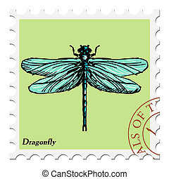 stamp with dragonfly - vector, post stamp with dragonfly