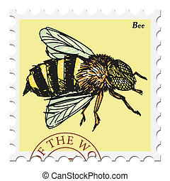 stamp with bee - vector, post stamp with bee