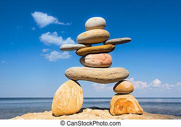 Symbol of Inukshuk on the seashore