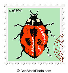 stamp with ladybird - vector, post stamp with ladybird