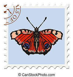 stamp with butterfly - vector, post stamp with butterfly