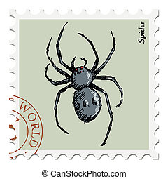 stamp with spider - vector, post stamp with spider