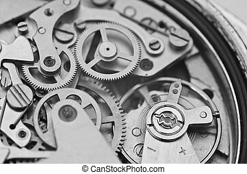 Black and white macro photo metal clockwork