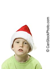 santa boy - child with santa hat over white with room for...