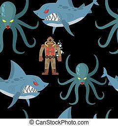 Diver in old diving suit and sea monsters seamless pattern....