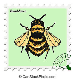 stamp with bumblebee - vector, post stamp with bumblebee