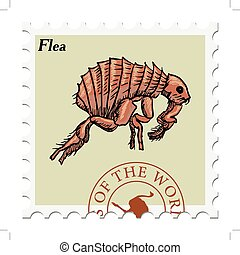 stamp with flea - vector, post stamp with flea