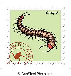 stamp with centipede - vector, post stamp with centipede