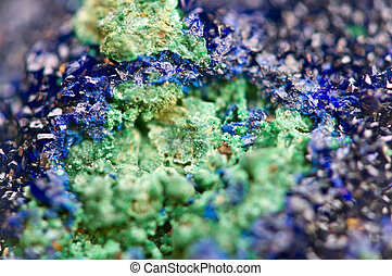 Green Malachite and Azurite Crystals deep blue copper...