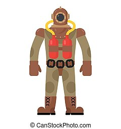 Diver old diving suit. Retro clothing for scuba diving. Vintage gear for swimming. Protective suit from sharks. Vector illustration