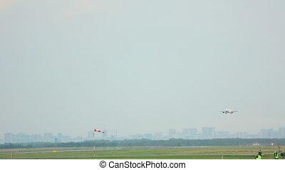 Touchdown - Airplane Boeing 737 landing at Tolmachevo...