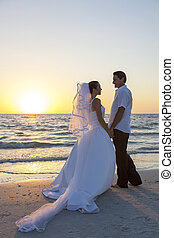 Bride & Groom Married Couple Sunset Beach Wedding