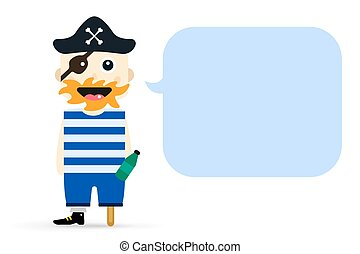 Halloween captain pirate character costume isolated vector...