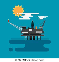 Offshore oil platform in the blue ocean Flat style