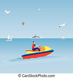 Man on a jet ski Water sports Summer vacation Illustration,...