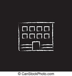 Office building icon drawn in chalk - Office building hand...