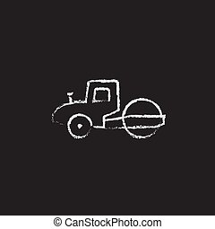 Road roller icon drawn in chalk. - Road roller hand drawn in...