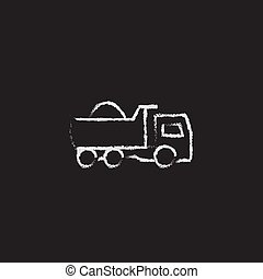 Dump truck icon drawn in chalk. - Dump truck hand drawn in...