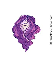 Beauty long purple hair hiding face - Pretty woman eye view...