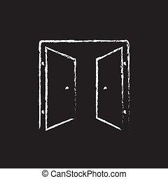 Open doors icon drawn in chalk. - Open doors hand drawn in...