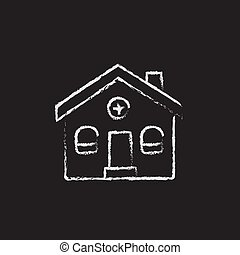 Detached house icon drawn in chalk. - Detached house hand...