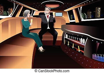 Retired Couple in a Limousine - A vector illustration of...