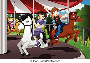Kids Riding on Merry Go Round - A vector illustration of...