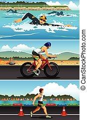 Triathlon Sport - A vector illustration of triathlon sport...