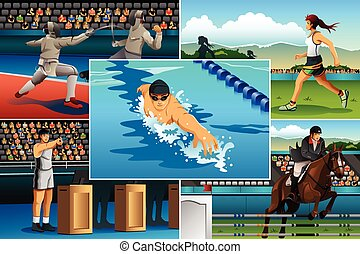 Modern Pentathlon Sport - A vector illustration of modern...