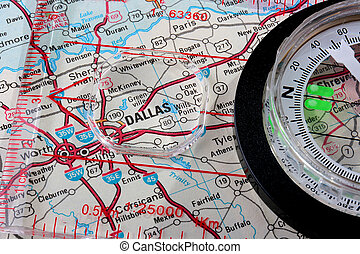 Map Dallas - USA map with the city of Dallas and a compass...