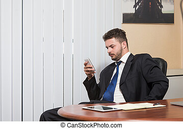 Businessman Talking On Telephone In Office