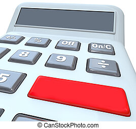 Calculator Red Button Blank Copy Space Digital Display