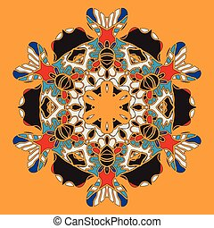 Oriental postcard with stylized mandla flower of warm colors...