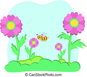 Flowers and Bees with Sky Bubble