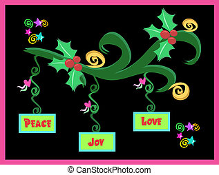 Christmas Decorations with Peace, Love, and Joy