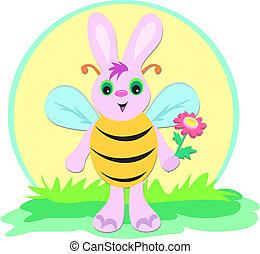 Cute Halloween Rabbit in Bee Costume