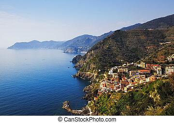 Riomaggiore and Via dell Amore, The Way of Love, aerial...