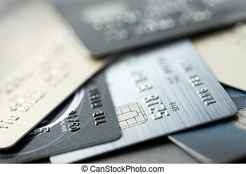 Credit cards - Close up of credit cards forming background