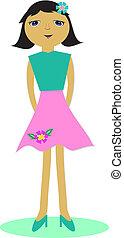 Retro Girl in Flower Skirt