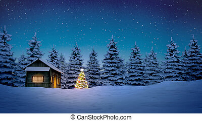 wooden cabin and christmas tree - lightened christmas tree...