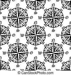 Vintage compass roses seamless pattern