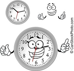 Cartoon gray office wall clock character