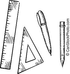 Pencil, pen, triangle and ruler sketch icons - Pencil,...